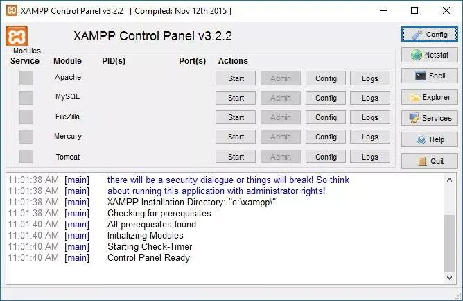 xampp controll panel after installation