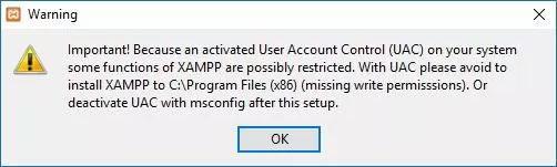 xampp installation warning