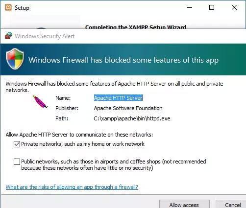 xampp installation warning allow host access
